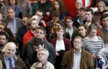 Voters attend a Republican US presidential caucus in Salt Lake City