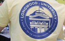 A Longwood University student outside the debate.