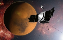 An artist's concept of NASA's MAVEN spacecraft approaching Mars. The probe entered Mars orbit on September 21.