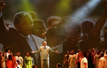 "Thabang Senekal during a performance of ""Madiba: The African Opera"" at South Africa's State Theatre in Pretoria on May 22, 2014.  The opera focuses on Nelson Mandela's  upbringing in the rural town of Qunu on the Eastern Cape and how and why he left that"