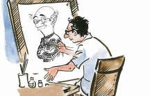 Indian cartoonist R.K. Laxman draws himself drawing his iconic character, The Common Man. Laxman 's political cartoons cover India's first 60 years of independence.