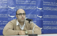 Mohamed Zaree giving a talk with the Cairo Institute for Human Rights Studies in Egypt.