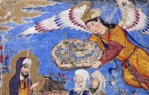 A painting of Prophet Muhammad's vision in Mecca from Tabriz, 1320 CE. In this painting, his facial features are not covered.
