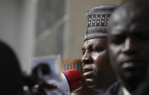 Kashim Shettima, the Governor of Borno state in northeast Nigeria, addresses a protest rally by Nigerians demanding the release of the school girls abducted from the remote village of Chibok. U.S. surveillance aircraft are flying over remote areas of nort