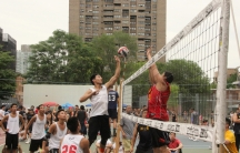 A recent game of nine-man, a Chinese twist on volleyball, in New York City's Chinatown.