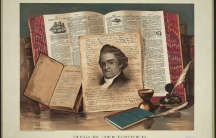 """A late-19th century print that called Noah Webster the """"Schoolmaster of the Republic."""""""