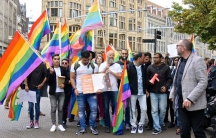 Demonstrators rally on behalf of LGBT asylum-seekers in Amsterdam, Netherlands.