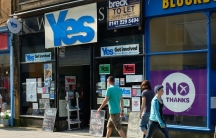 """No"" signs recently appeared in an empty shop next to the headquarters of Oban's ""Yes"" campaign."
