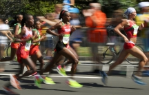 Runners compete in the Women's Marathon during the Rio 2016 Olympic Games.