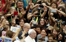 Francis greets the crowd outside of the Vatican in Rome on September 5, 2015.