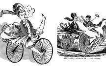 A woman on a bicycle speeds toward a man.