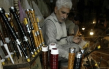Abdul Hameed is seen busy in his workshop on Nov. 25, 2003 in Sialkot, Pakistan. This dusty city in central Pakistan is home to four generations of bagpipe makers, who once kitted out Scottish regiments in what was the British colony of India and now sell