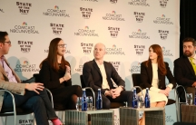A group of panelists address an audience at the State of the Net Conference in January. The panel consists of (from left to right) Jason Kaplan, Hilary Swab Gawrilow, James Cross, Mercina Tillmann-Dick and Justin Herman.