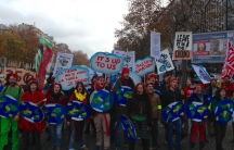 Climate activists demonstrating in Paris