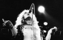 "Robert Plant of Led Zeppelin performing ""Stairway to Heaven"" live onstage at Erals Court, 1975 in London."