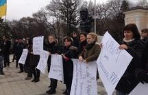 Protestors in the Crimean city of Simferopol come out support of the new government in Kiev.