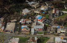 Buildings damaged by Hurricane Maria are seen in Lares, Puerto Rico, Oct. 6, 2017.