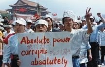 A group of journalists supports the pro-democracy protest in Tiananmen Square, Beijing May 17, 1989.