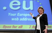 European Information Society and Media Commissioner Viviane Reding pauses at the end of a news conference in Brussels April 7, 2006, after the launch of the .eu domain names for all citizens.