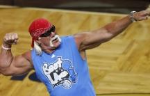 Wrestler Hulk Hogan rallies the crowd during Game 4 of the 2009 NBA Finals.