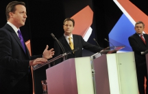 Britain's Prime Minister Gordon Brown (R), opposition Conservative Party leader David Cameron (L) and Liberal Democrat leader Nick Clegg take part in the second of Britain's leadership election debates in Bristol, southwest England, on April 22, 2010.
