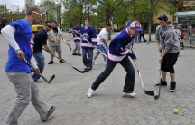 Scenes like this of kids playing street hockey at the Forks Market in Winnipeg, Manitoba are becoming scarce in many Canadian cities.