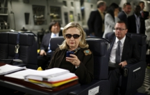 U.S. Secretary of State Hillary Clinton departing from Malta found for Tripoli, Libya in October, 2011.