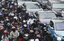 Morning rush-hour traffic in Jakarta, Indonesia.