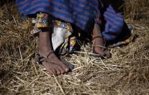 The feet of a Tarahumara girl are seen in Guachochi November 30, 2011.