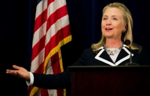 Hillary Clinton delivers a news conference