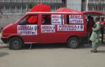 A bus advertising an American visa lottery in Nigeria's commercial capital Lagos.