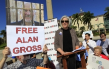 Judy Gross the wife of a U.S. contractor jailed in Cuba for crimes against the state, speaks at a rally for her husband's release in Florida.