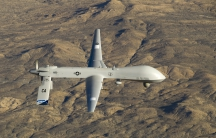 A US Air Force MQ-1 Predator flies near the Southern California Logistics Airport in Victorville, California.
