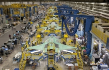 Workers can be seen on the moving line and forward fuselage assembly areas for the F-35 Joint Strike Fighter at Lockheed Martin Corp's factory located in Fort Worth, Tex