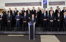 """NATO's Secretary General, Anders Fogh Rasmussen -- backed by all of NATO's foreign ministers -- speaking at the Alliance headquarters in Brussels. NATO is suspending """"all practical civilian and military cooperation"""" with Russia."""