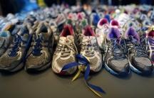 Boston Marathon memorial of runners shoes