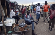 Residents displaced by recent fighting gather at a trading area within the United Nations Mission in South Sudan in Malakal, in Upper Nile State.