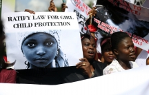 Nigerian women in Lagos protest to demand the release of abducted school girls.