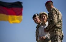 German Defense Minister Ursula von der Leyen visits Camp Shaheen outside Mazar-i-Sharif in Afghanistan, where German troops are stationed.