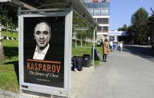 A poster of chess player Garry Kasparov in Tromso, Norway, where the former world champion lost his bid to become the president of the World Chess Federation, or FIDE.