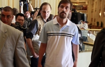 American journalist James Foley arrives at the Rixos hotel in Tripoli after being released from capitivity by the Libyan government on May 18, 2011.