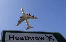 An aircraft takes off from Heathrow Airport in west London.