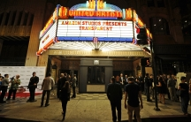 """The marquee of United Artists Theater during Amazon's premiere screening of the TV series """"Transparent"""" in Los Angeles, California on September 15, 2014."""