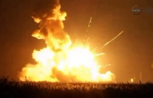 An unmanned Antares rocket is seen exploding seconds after liftoff from a commercial launch pad in this still image from NASA video at Wallops Island, Virginia, on October 28, 2014.
