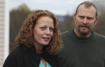 Nurse Kaci Hickox and her boyfriend, Ted Wilbur, speak with the media outside of their home in Fort Kent, Maine, on October 31, 2014. Hickox defied quarantine orders in New Jersey and Maine after returning from West Africa but testing negative for Ebola.