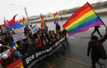 "St.Petersburg, RussiaGay activists take part in a protest event called ""March against Hatred"" in St. Petersburg November 2, 2014. The activists are marching in opposition towards the aggressive Russian government policy due to the war in Ukraine. (RUSSIA"