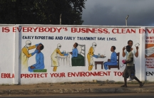 A mural in Monrovia illustrating health instructions for treating the Ebola virus.
