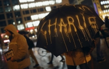 """The """"I am Charlie"""" slogan was on display during a vigil in Frankfurt, Germany following the deadly shooting attack in Paris this week."""
