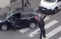 The Kouachi brothers gesture after shooting up the Charlie Hebdo office in Paris last week.