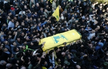 Members and supporters of Lebanon's Hezbollah commander Mohamad Issa, known as Abu Issa, carry his coffin during his funeral in Arab-Salim in south Lebanon on January 20, 2015. He was killed in an alleged Israeli airstrike in Syria on January 18.